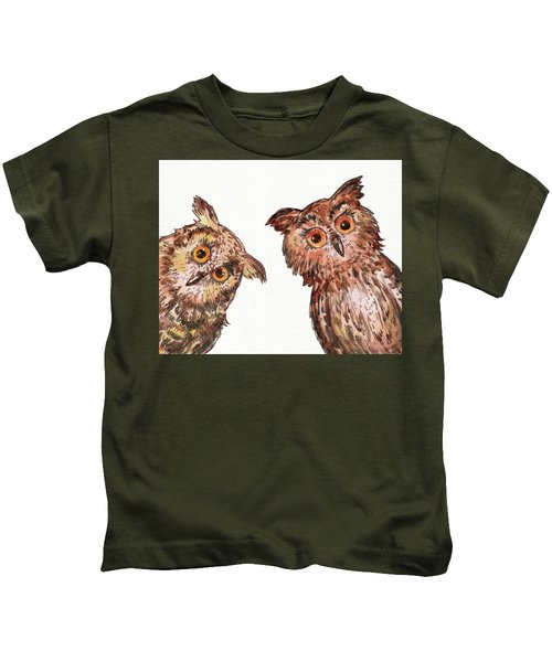 Two Curious Baby Owls Watercolor Kids T-Shirt