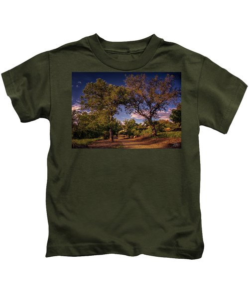 Two Old Oak Trees At Sunset Kids T-Shirt