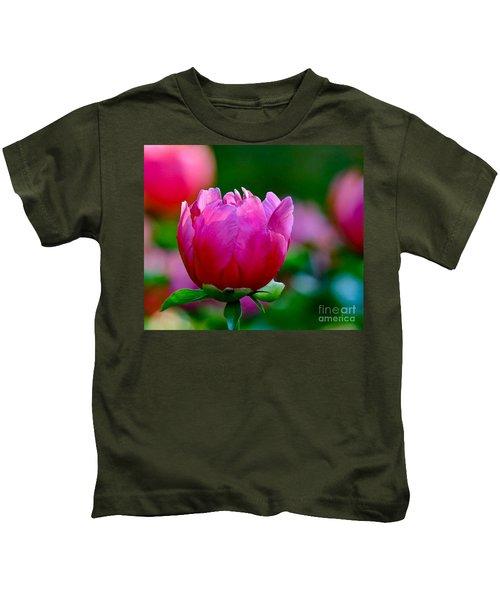 Vibrant Pink Peony Kids T-Shirt