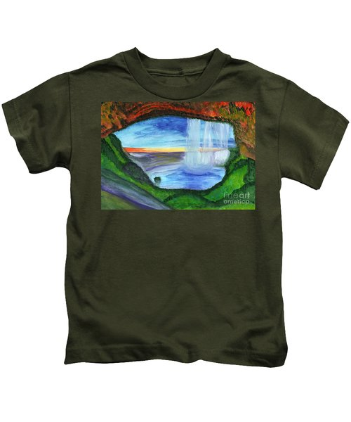 View From The Cave To The Waterfall Kids T-Shirt