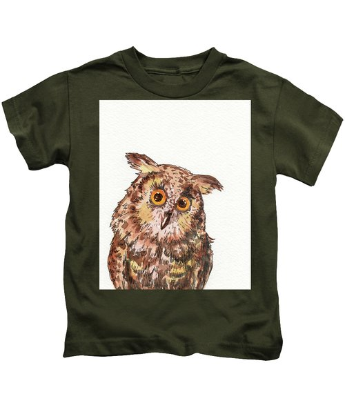 Watercolor Baby Owl  Kids T-Shirt