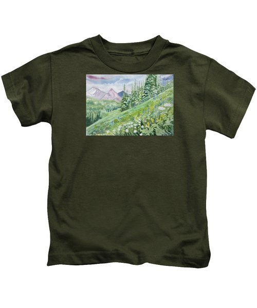 Watercolor - Fourth Of July Trail Summer Landscape Kids T-Shirt