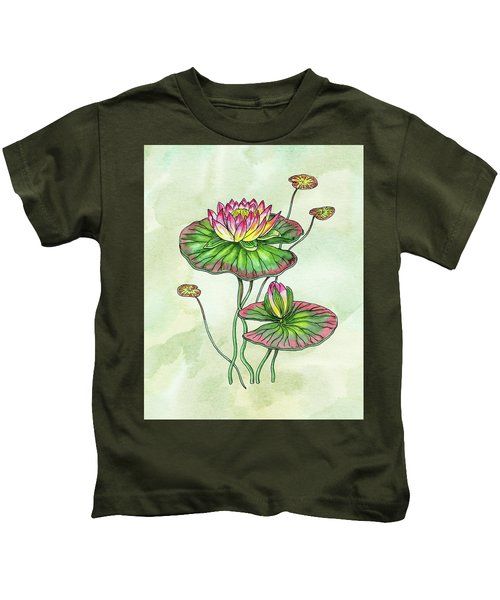 Watercolor Water Lily Botanical Flower Kids T-Shirt