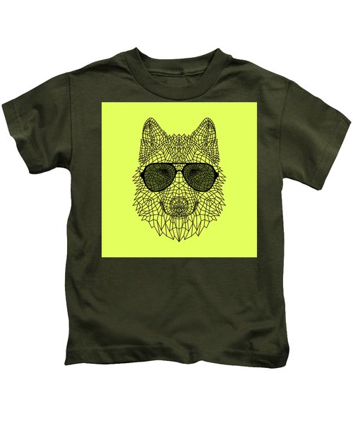 Woolf In Black Glasses Kids T-Shirt