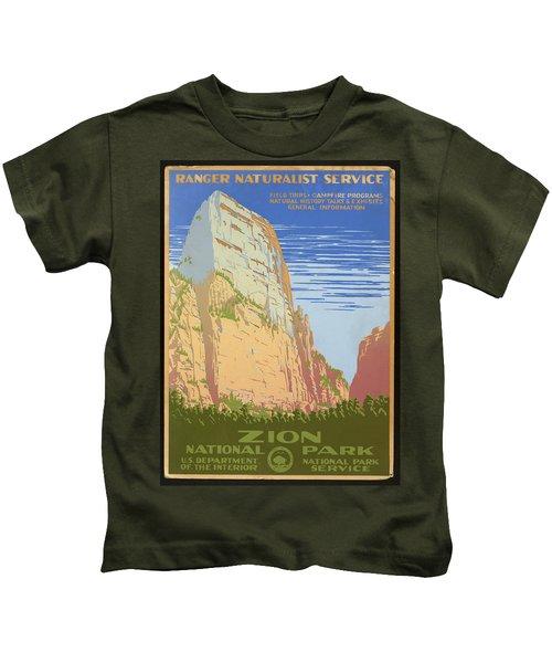 Zion National Park Ranger Naturalist Service Vintage Poster Kids T-Shirt