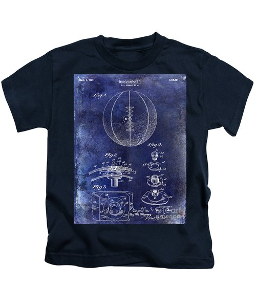 1927 Basketball Patent Drawing Blue Kids T-Shirt by Jon Neidert