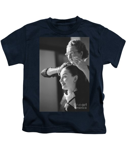 Audrey Hepburn Preparing For A Scene In Roman Holiday Kids T-Shirt by The Harrington Collection
