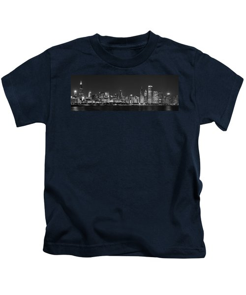 Chicago Skyline At Night Black And White Panoramic Kids T-Shirt by Adam Romanowicz