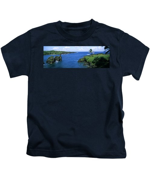 High Angle View Of A Coast, Hana Coast Kids T-Shirt