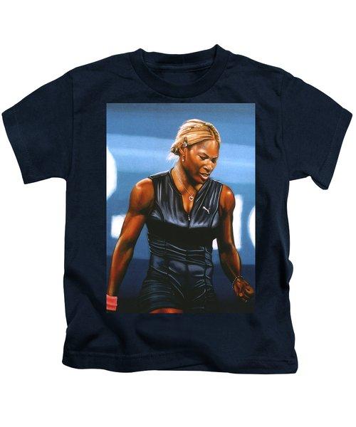 Serena Williams Kids T-Shirt by Paul Meijering