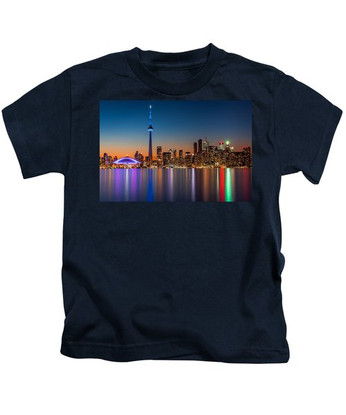 Toronto Skyline At Dusk Kids T-Shirt