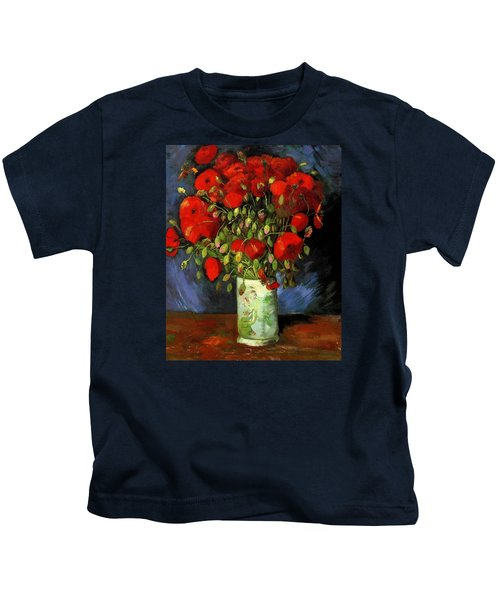 Vase With Red Poppies Kids T-Shirt