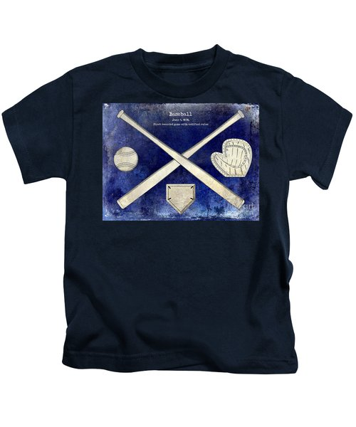 1838 Baseball Drawing 2 Tone Blue Kids T-Shirt