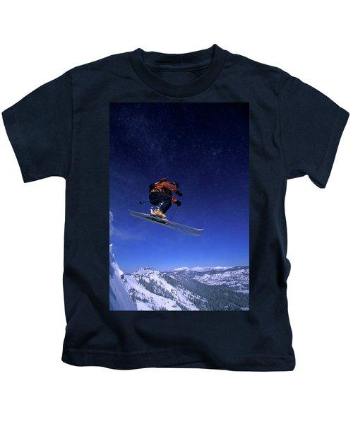 A Male Backcountry Skier, Skis Kids T-Shirt