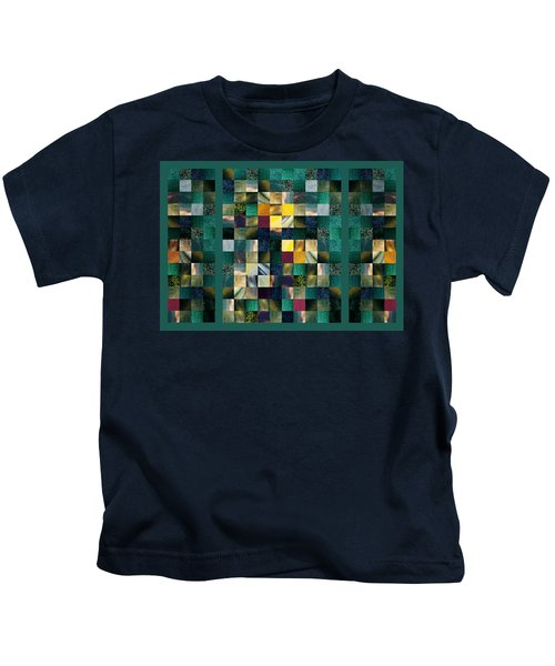 Abstract Squares Triptych Gentle Green Kids T-Shirt
