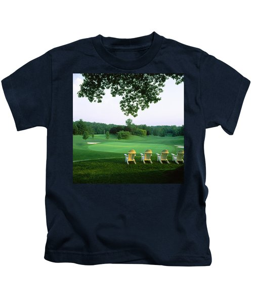 Adirondack Chairs In A Golf Course Kids T-Shirt