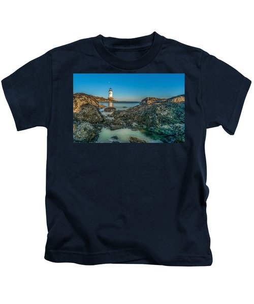 An Early Moon Over Fort Pickering Light Salem Ma Kids T-Shirt