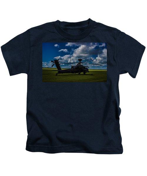 Apache Gun Ship Kids T-Shirt by Martin Newman