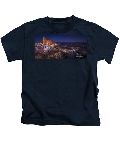 Arcos De La Frontera Panorama From Balcon De La Pena Cadiz Spain Kids T-Shirt