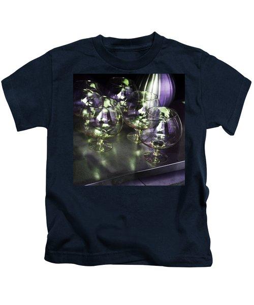 Aubergine Paris Wine Glasses Kids T-Shirt