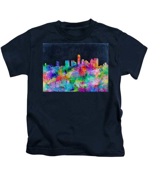 Austin Watercolor Panorama Kids T-Shirt