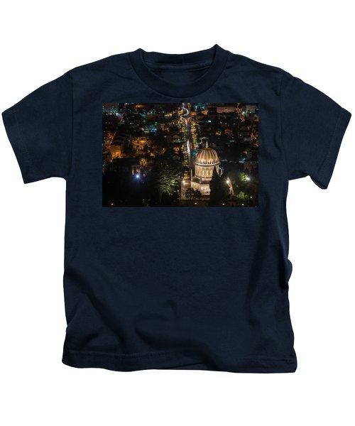 Baha'i Temple At Night Kids T-Shirt