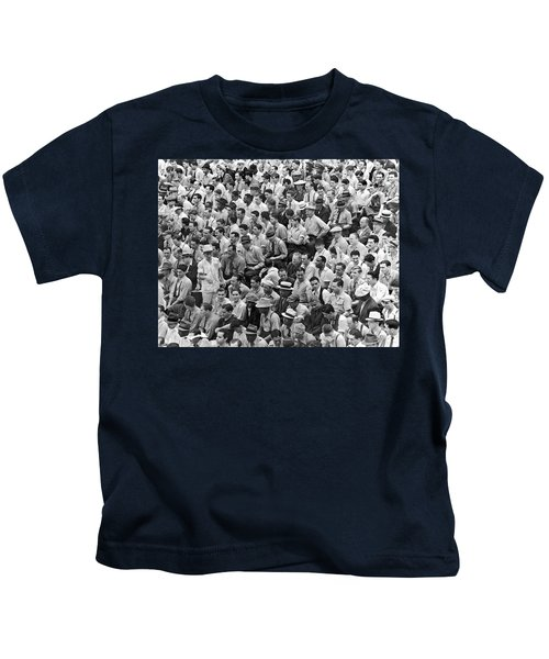 Baseball Fans In The Bleachers At Yankee Stadium. Kids T-Shirt by Underwood Archives