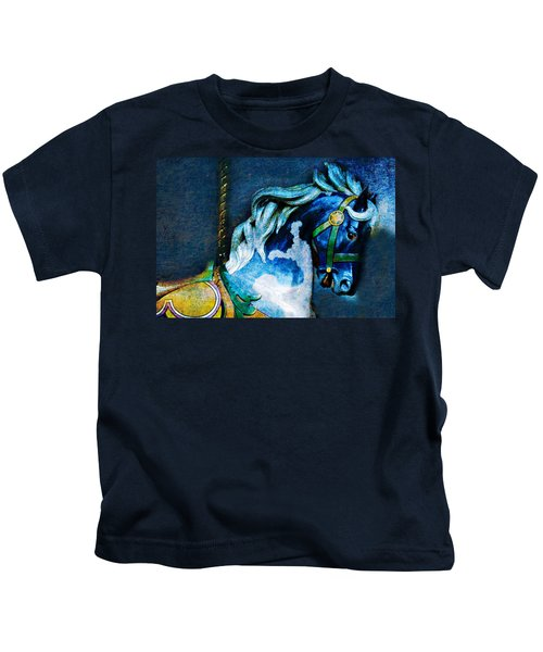 Blue Carousel Horse Kids T-Shirt
