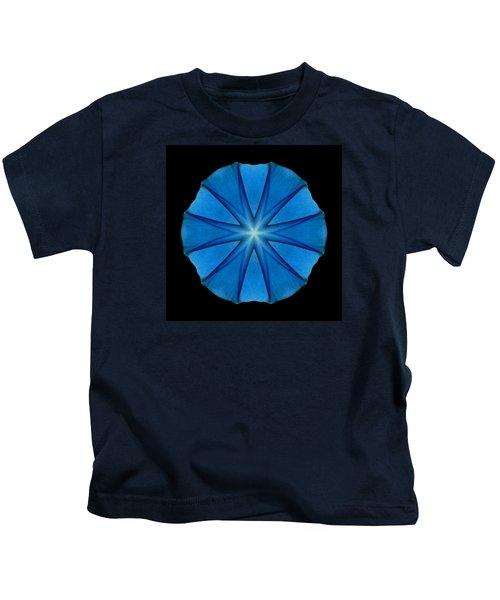 Blue Morning Glory Flower Mandala Kids T-Shirt