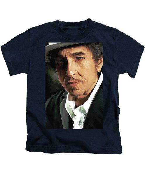 Bob Dylan Artwork Kids T-Shirt by Sheraz A