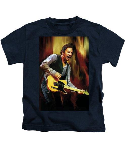 Bruce Springsteen Artwork Kids T-Shirt by Sheraz A
