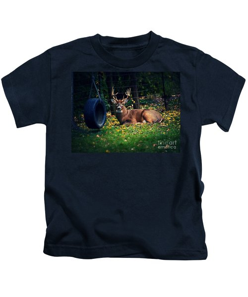 Buck In The Back Yard Kids T-Shirt
