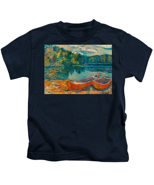 Canoes At Mountain Lake Kids T-Shirt