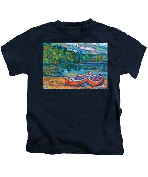 Canoes At Mountain Lake Sketch Kids T-Shirt