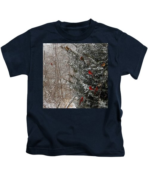 Cardinals In Winter 1 Square Kids T-Shirt