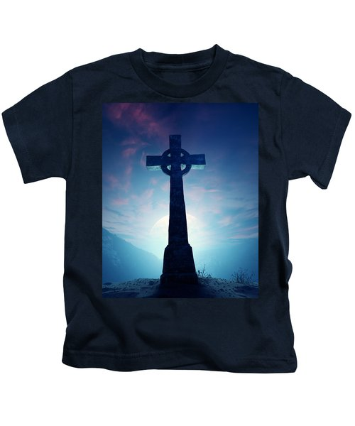 Celtic Cross With Moon Kids T-Shirt