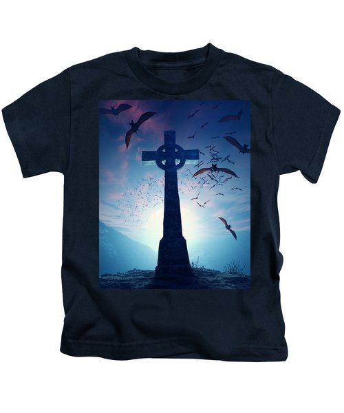 Celtic Cross With Swarm Of Bats Kids T-Shirt