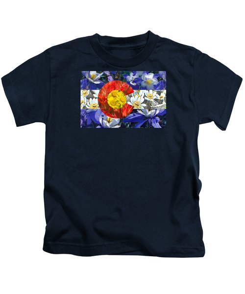 Colorado State Flag With Wildflower Textures Kids T-Shirt