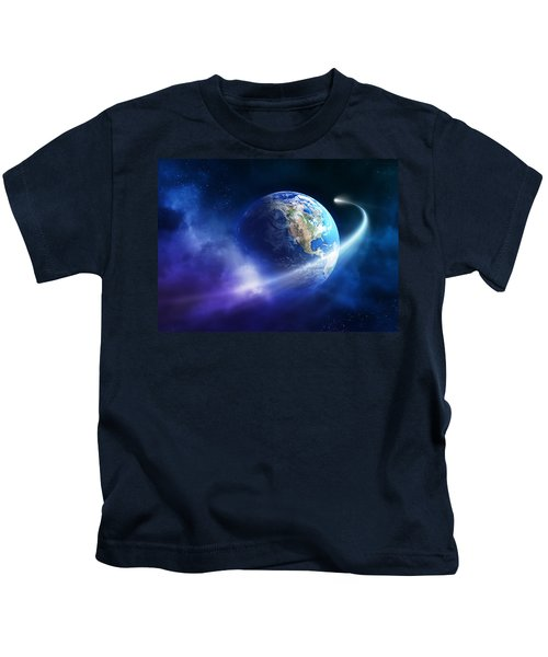 Comet Moving Passing Planet Earth Kids T-Shirt