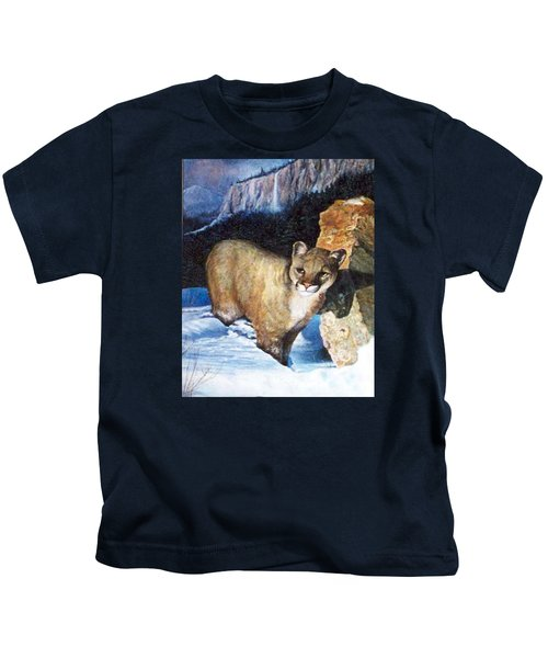 Cougar In Snow Kids T-Shirt