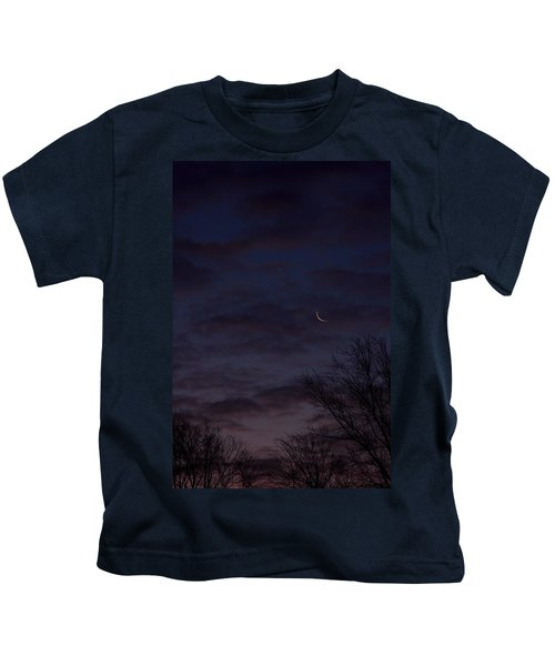 Crescent Moon And Venus Rising Kids T-Shirt
