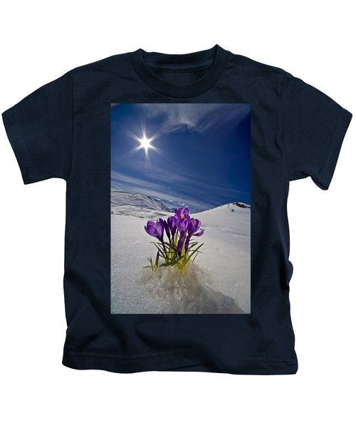 Crocus Flower Peeking Kids T-Shirt