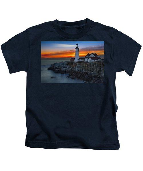 Dawn At Portalnd Head Light Kids T-Shirt