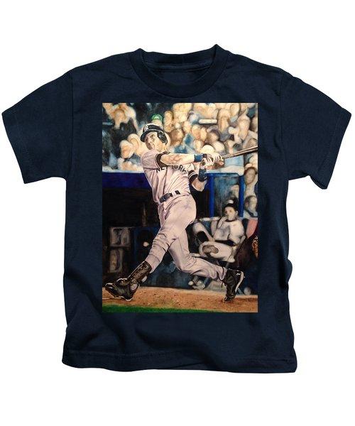 Derek Jeter Kids T-Shirt by Lance Gebhardt