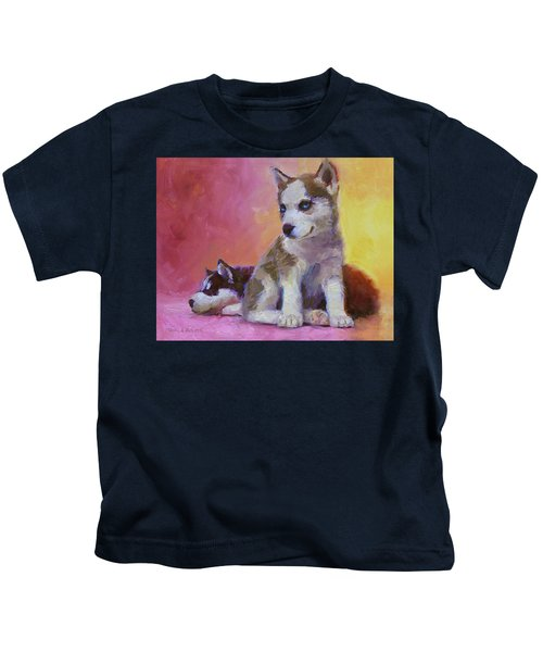 Double Trouble - Alaskan Husky Sled Dog Puppies Kids T-Shirt