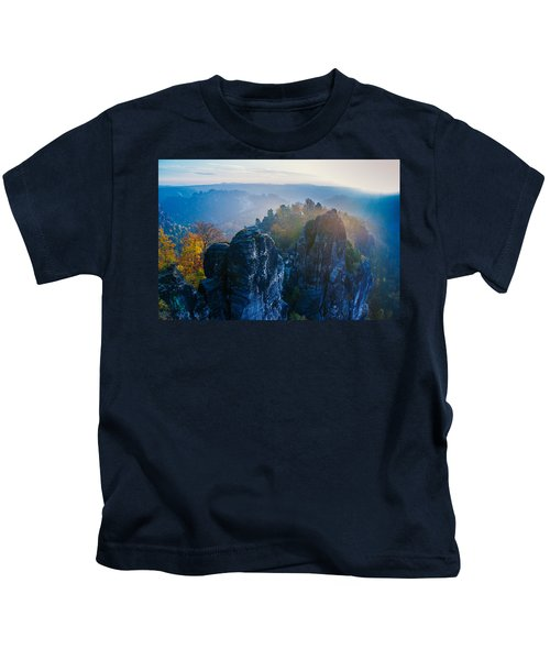 Early Morning Mist At The Bastei In The Saxon Switzerland Kids T-Shirt