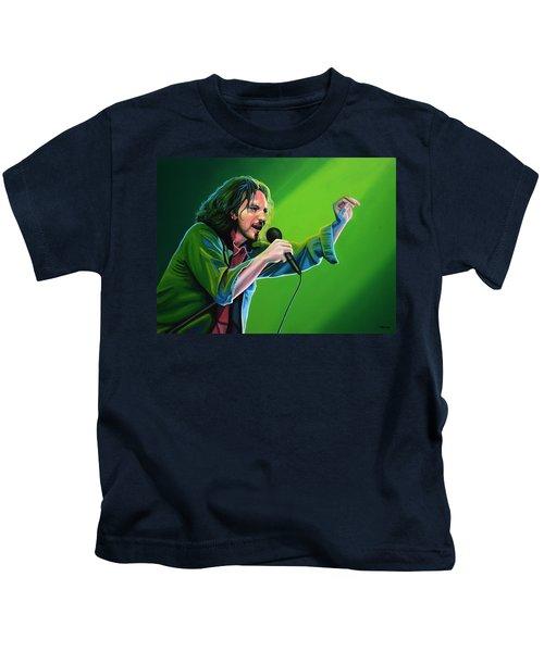 Eddie Vedder Of Pearl Jam Kids T-Shirt by Paul Meijering