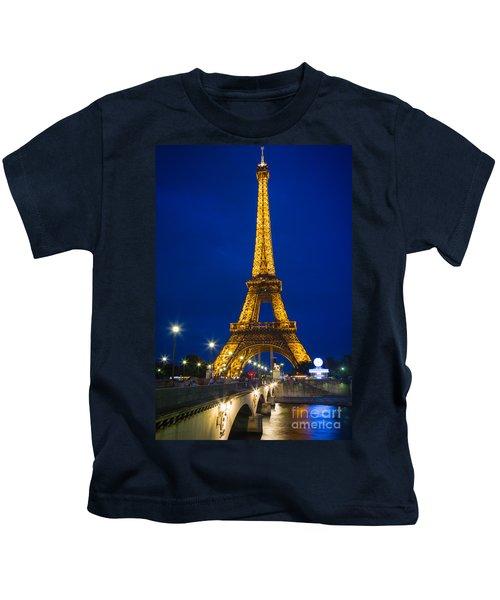 Eiffel Tower By Night Kids T-Shirt