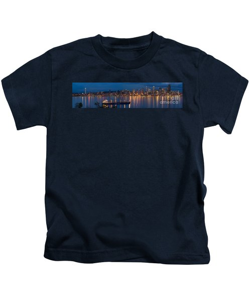 Elliott Bay Seattle Skyline Night Reflections  Kids T-Shirt