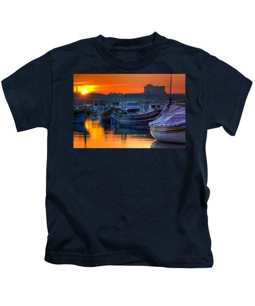 Fishing Boats In Birzebuggia Harbour Kids T-Shirt